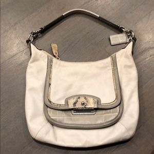 White Leather Bag with Snake Skin Accents